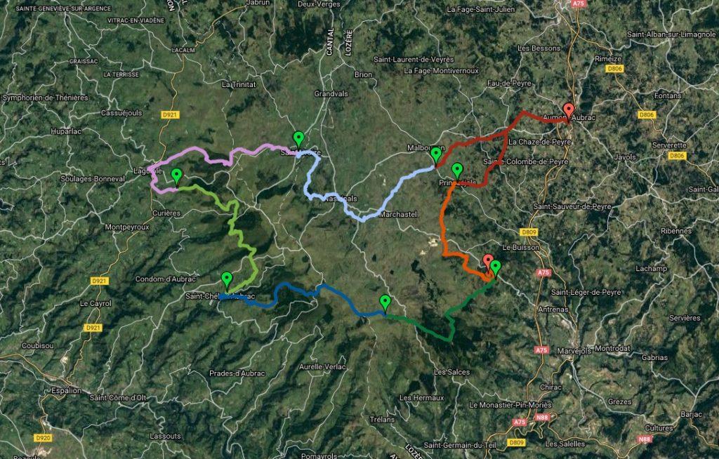 carte topo du tour des Monts d'Aubrac