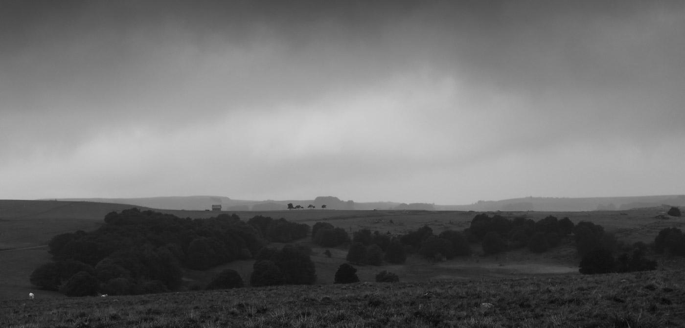 paysage d'Aubrac en noir et blanc