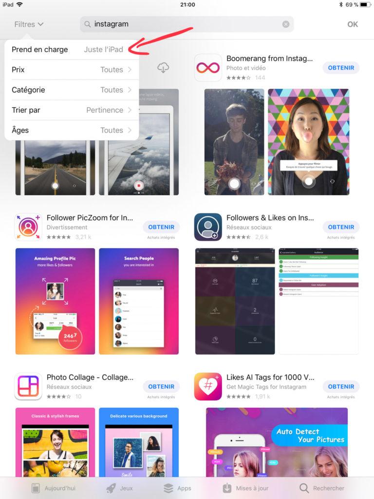 Comment installer Instagram sur un iPad