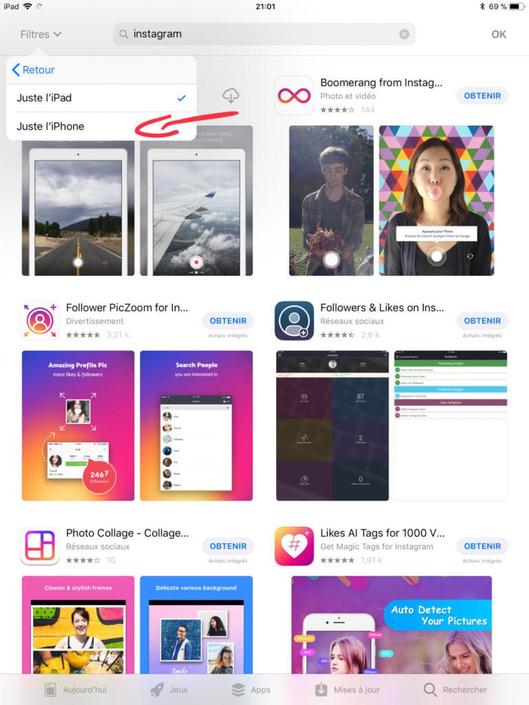 Instagram sur un iPad