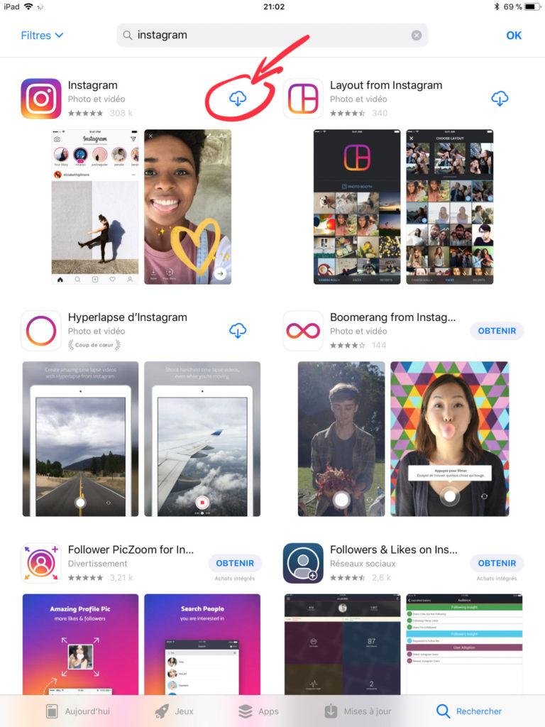 Installer Instagram sur iPad