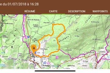 Affichage du parcours réalisé dans Visorando