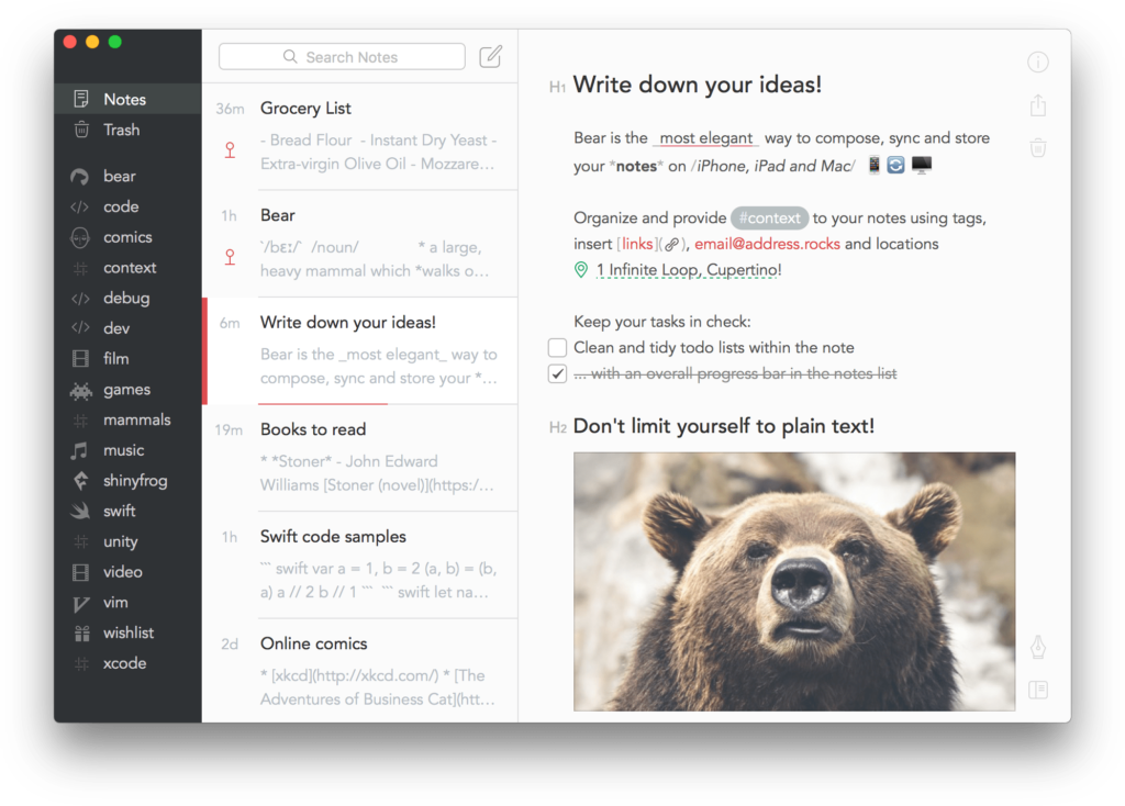 Interface de l'application Bear