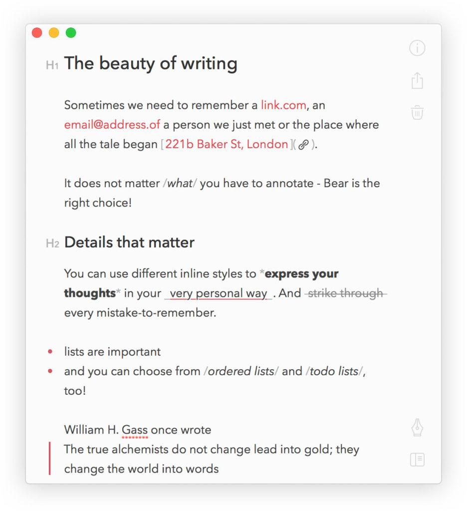 Options de rédaction de l'application Bear