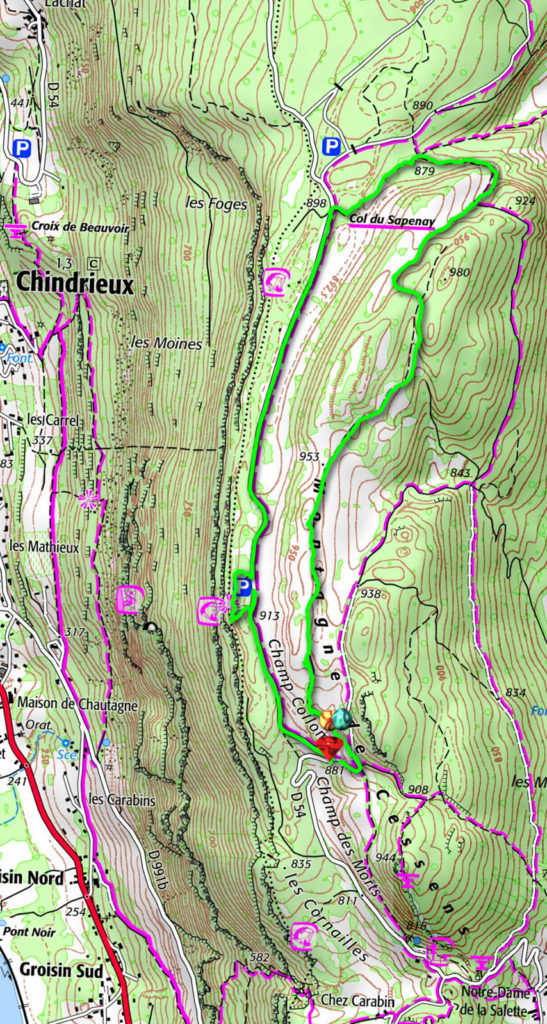 Montagne de Cessens - Carte IGN